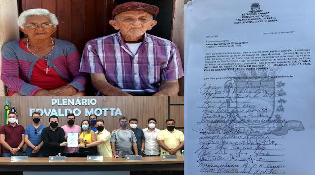 Vereadores de Patos-PB, se unem em defesa do casal de idosos despejados da casa onde moram há 48 anos