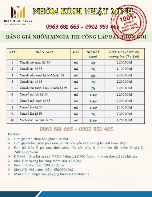 Giá Cửa Nhôm Xingfa - Công ty Nhôm Kính Tại Quảng Ninh