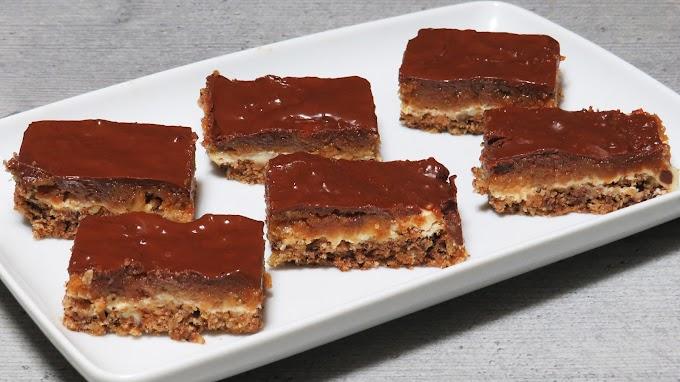 Prăjitură cu nucă, caramel și ciocolată