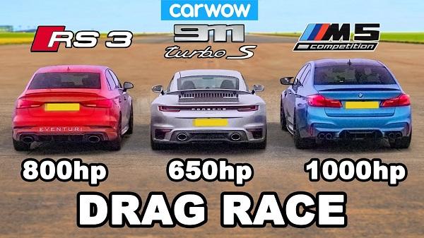 Porsche 911 Turbo S vs Audi RS 3 vs BMW M5