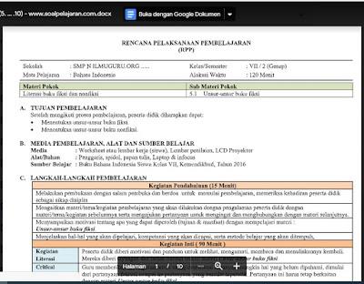 RPP Bahasa Indonesia Kelas 7 Semester 2 Kurikulum 2013 revisi 2021