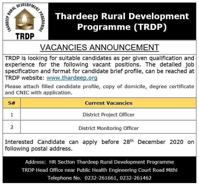 Thardeep Rural Development Programme TRDP Jobs 2020 For District Monitoring Officer & District Project Officer