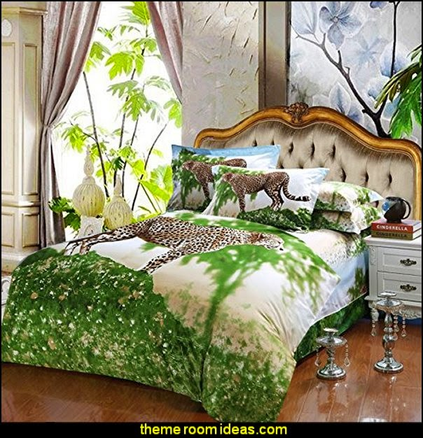 Leopard 3D Oil Print Bedding Cotton Luxury 4 Pcs Queen Set