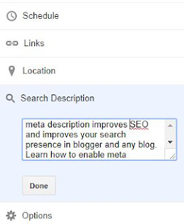 how to enable meta description for each blogger post