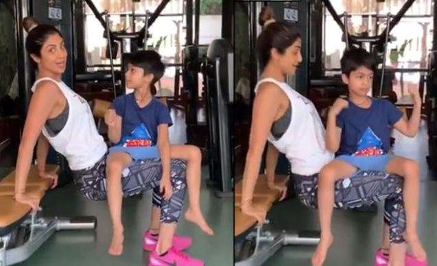 shilpa shetty and son in gym