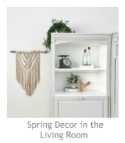 Spring Decor in the Living Room at Pieced Pastimes