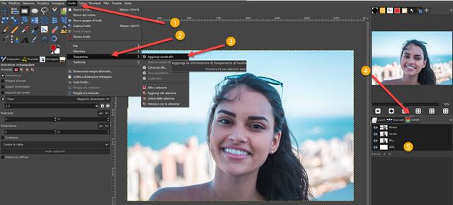 aggiungere canale alfa alle immagini con gimp