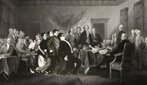 The members of the ska band Madness have been inserted into a print of the US founding fathers signing the Declaration of Independence.