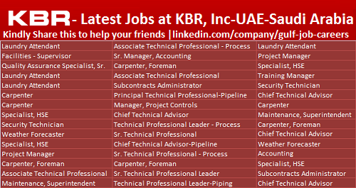 Gas Jobs: Kbr Oil And Gas Jobs