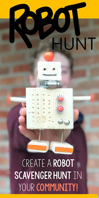 Here's how to create a robot scavenger hunt in your community. Learn how we made wooden robots and hid them around our town. We wrote scavenger hunt clues and shared them with friends as a way to connect with our community.