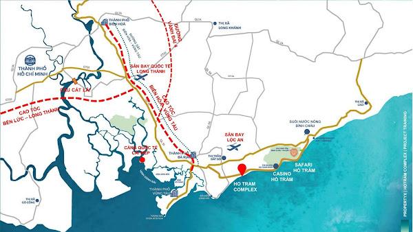 bản đồ liên kết vùng dự án căn hộ Hồ Tràm Complex