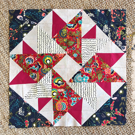 Half Square Triangles Aster Block Designed by Pat Bravo of Pat Bravo Design