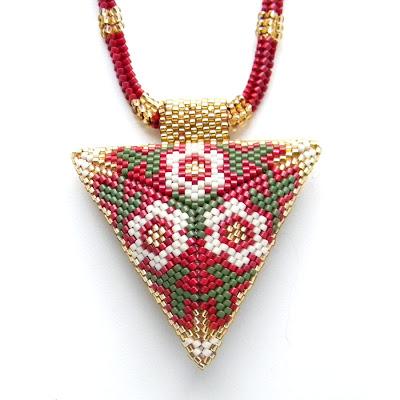 купить украшения из бисера украина кулон колье треугольный
