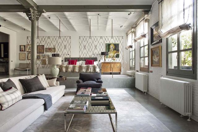 Le décor spectaculaire de ce loft new yorkais a été conçu par la décoratrice espagnole isabel lópez quesada lespace totalement ouvert et très lumineux est