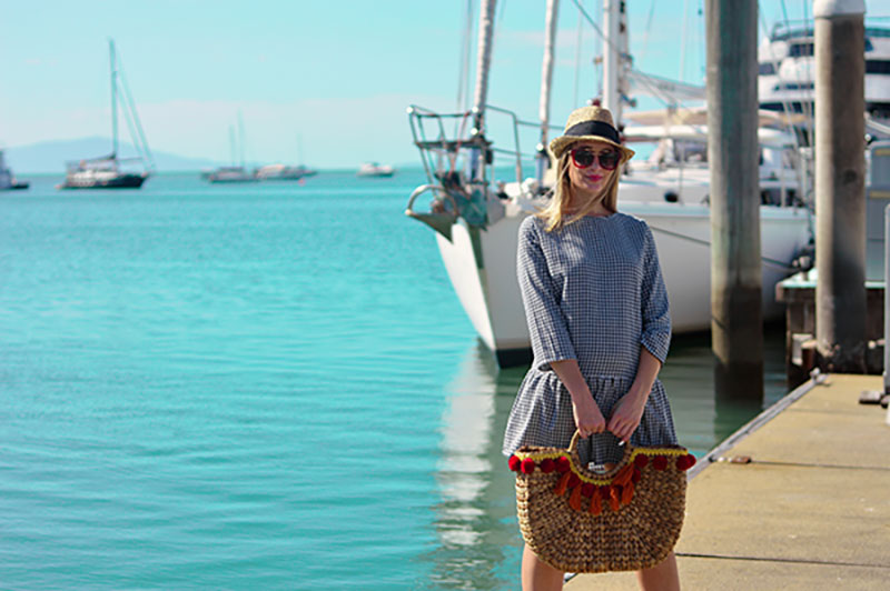bargain australian outfit gingham dress with red sunglasses basket bag