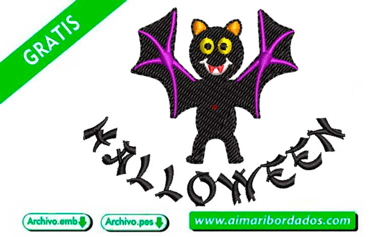 Murciélago Halloween bordar a máquina DESCARGA GRATIS