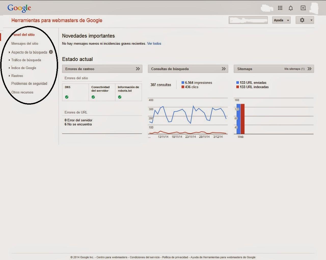 Muestra la información general sobre el funcionamiento de la Web de acuerdo a Google Search Console