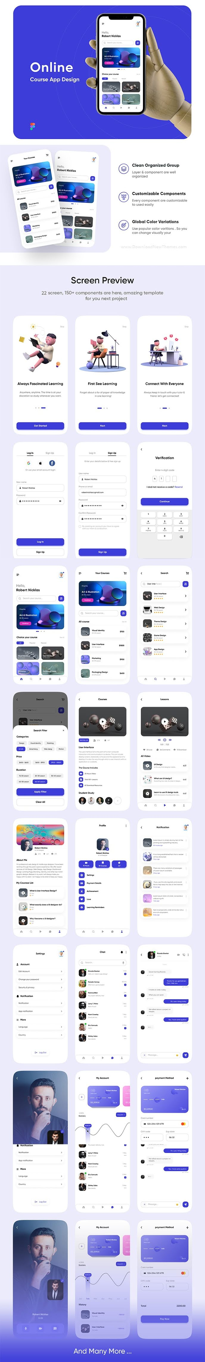 Online learning course app UI kit