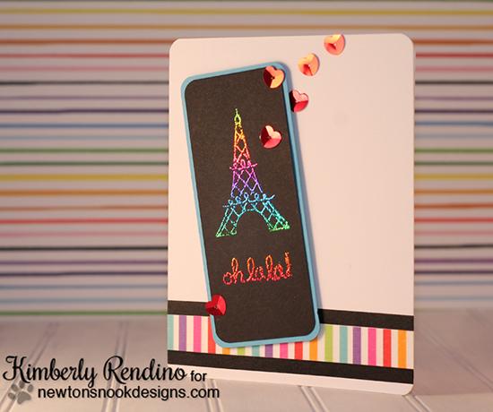 Oh la la Eiffel Tower card by Kimberly Rendino | Newton Dreams of Paris stamp set by Newton's Nook Designs