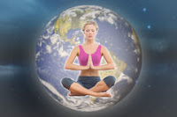 A picture of a single person, in lotus posture in front of the globe, demonstrating how as we each heal we help the Earth.