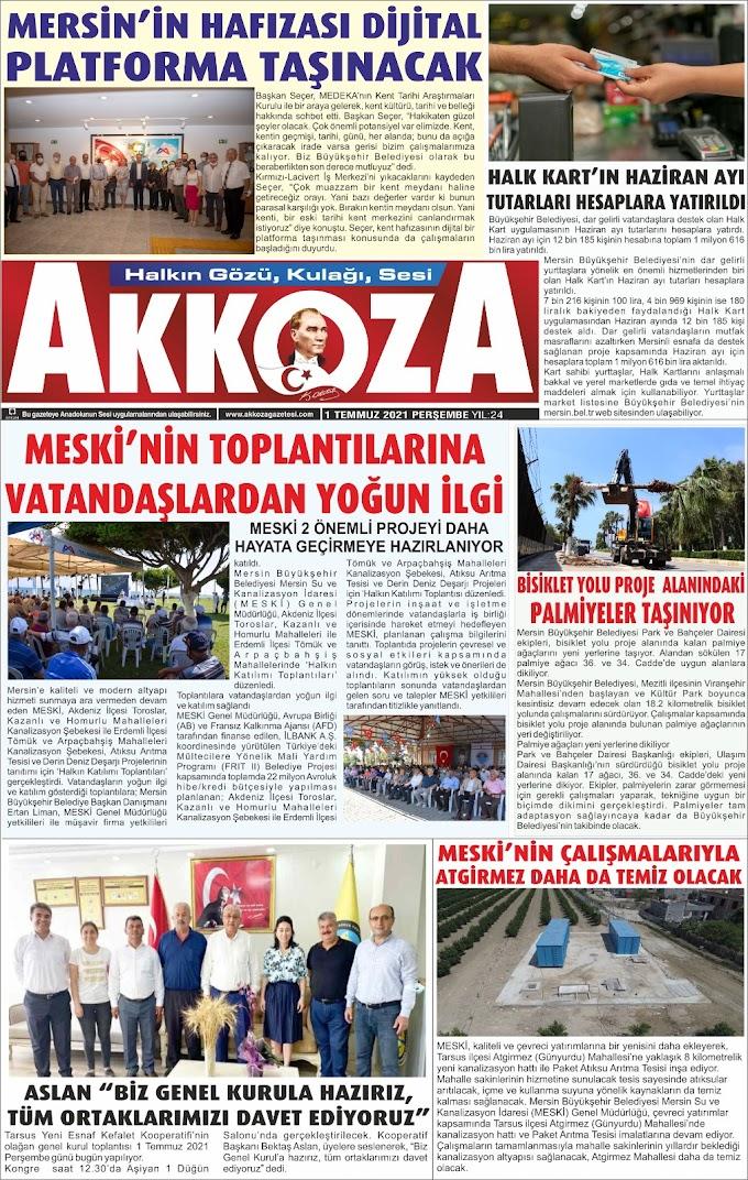 1 Temmuz 2021 Perşembe  Tarihli Gazetemiz