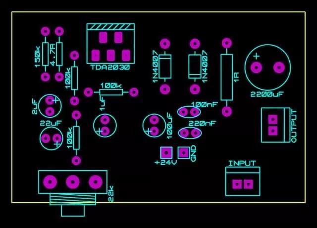 tda2030 amplifier circuit single supply pcb top