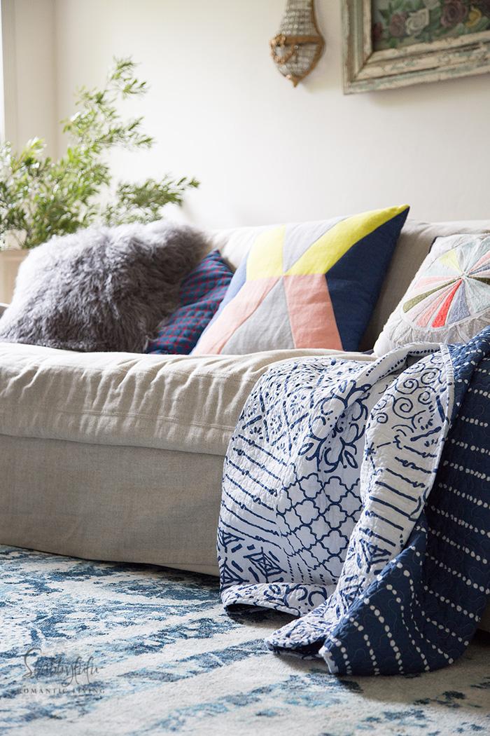 sofa with modern boho pillows