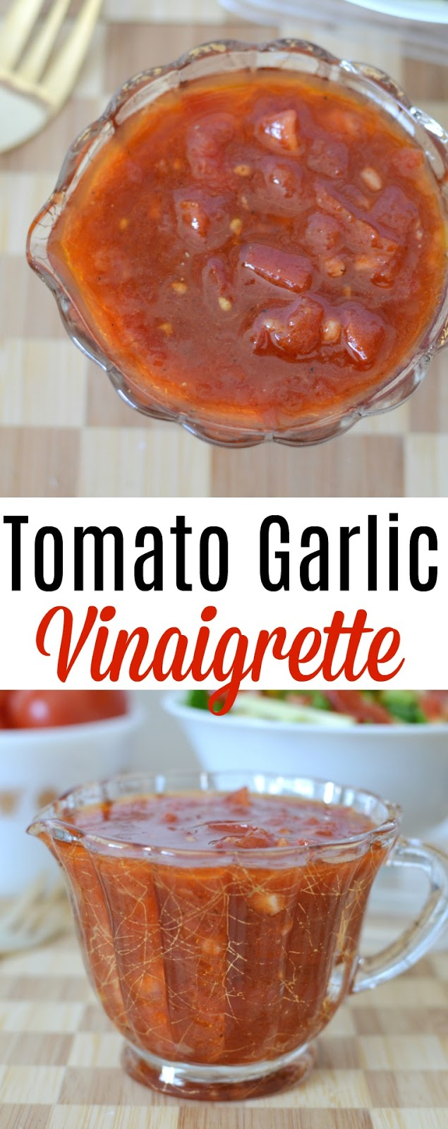 This summer tomato garlic dressing is perfect with lettuce salads, pasta salads and delicious drizzled over roasted vegetables! Skip the store bought stuff and make this instead!