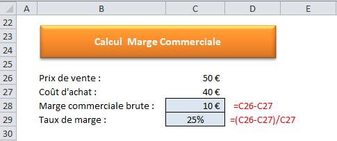 Tutoriels Excel 2007 A 2013 Comment Calculer Une Marge Commerciale