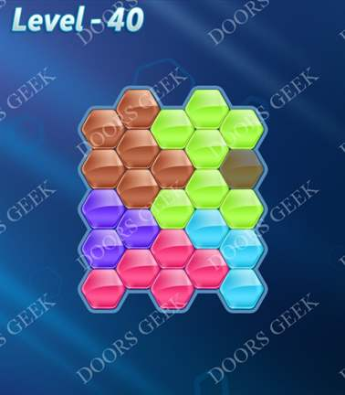 Block! Hexa Puzzle [Rainbow A] Level 40 Solution, Cheats, Walkthrough for android, iphone, ipad, ipod