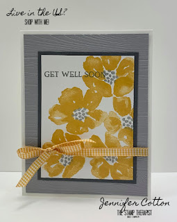 Get Well Soon card using Stampin' Up!'s Blossoms in Bloom set.  We also used the Pinewood Planks embossing folder.  Click the picture to go to blog for video and supplies!  #StampinUp #StampTherapist
