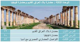 الوحدة الثالثة : حضارة بلاد العراق القديم وحضارة فينيقيا 1- حضارة بلاد العراق القديم 2- حضارة فينيقيا 3- التواصل الحضارى المصرى مع آسيا