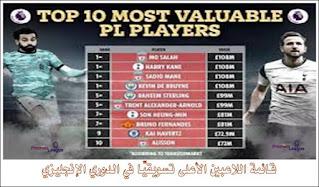 قائمة اللاعبين الأعلى تسويقيًا في الدوري الإنجليزي