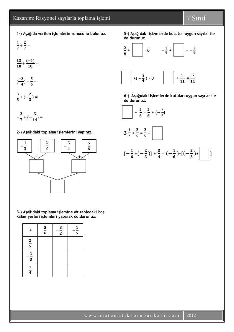 Matematik 5 6 7 8 7 Sinif Rasyonel Sayilarla Toplama Islemi