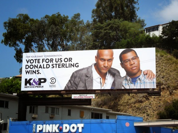 Key & Peele Vote for us or Donald Sterling wins Emmy 2014 billboard