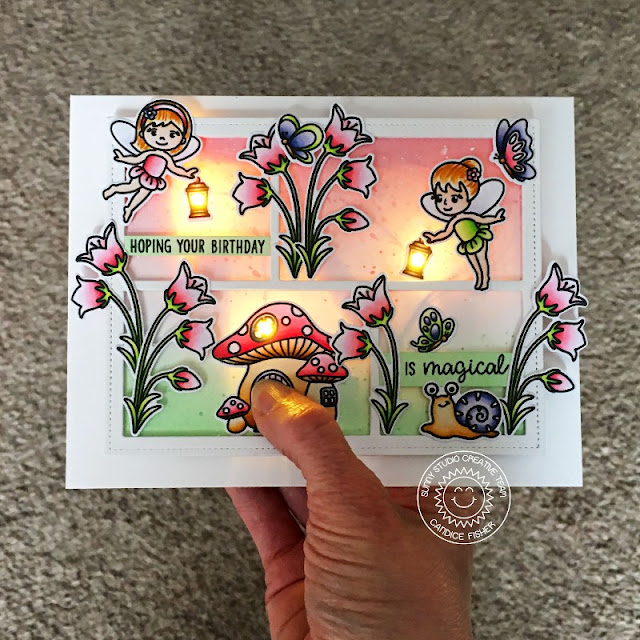 Sunny Studio Stamps: Garden Fairy Comic Strip Speech Bubble Dies Fairy Themed Birthday Card by Candice Fisher