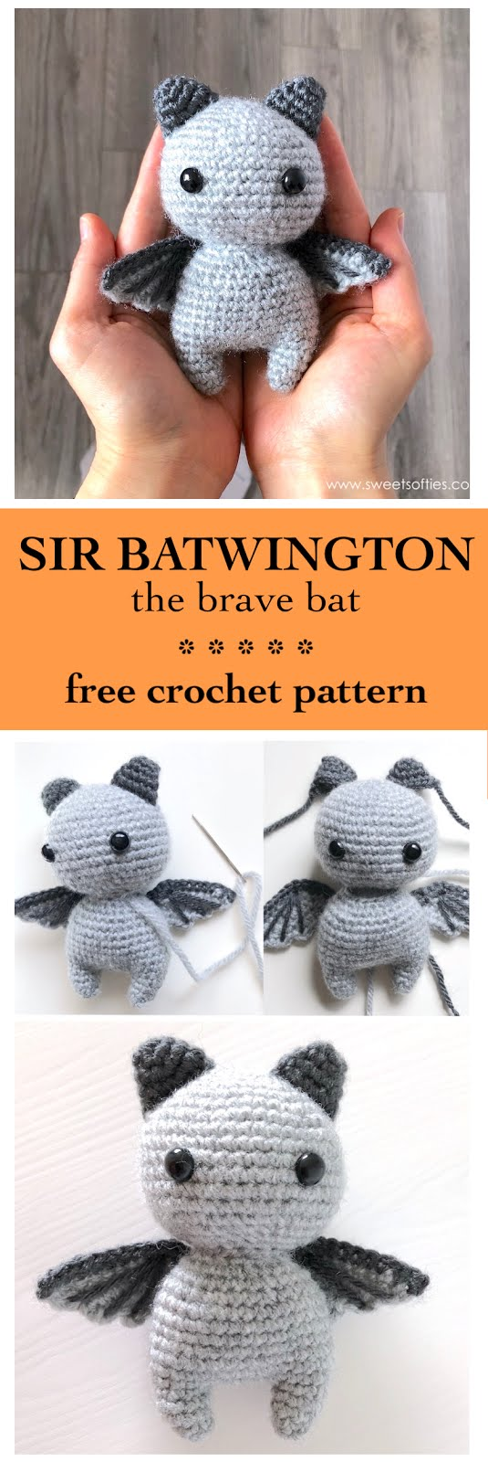 Itty Bitty Bat amigurumi | Make this cute amigurumi bat with… | Flickr | 1600x535