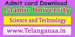 Islamic University of Science and Technology B.Tech-CSE 8th Sem 2016 Admit Card