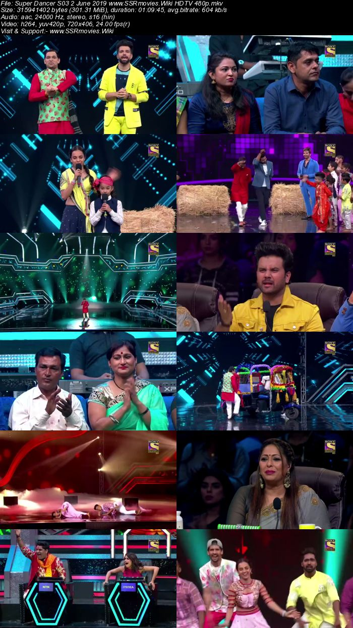 Super Dancer S03 2 June 2019 HDTV 480p Full Show Download