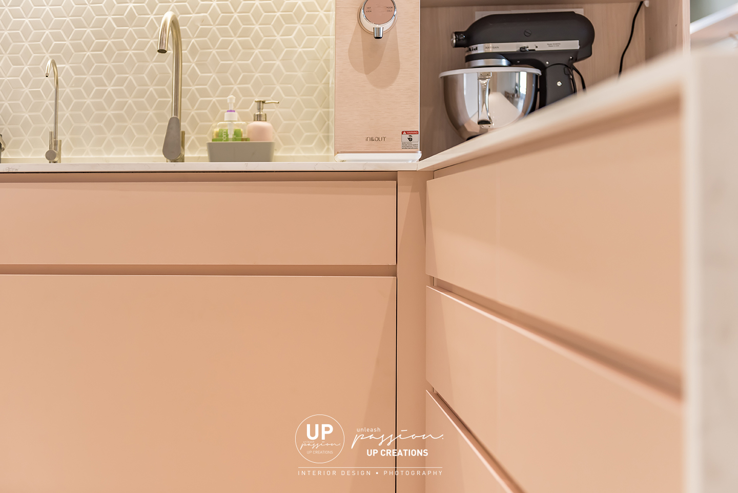 Mont Kiara Pines condo kitchen bottom cabinet in pastel pink color