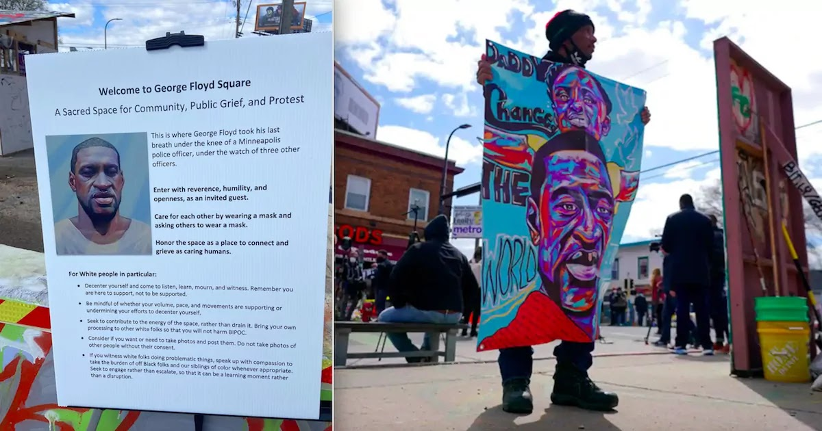 Conservatives Angered After 'Rules For White People' Notice Appears On George Floyd Square In Minneapolis