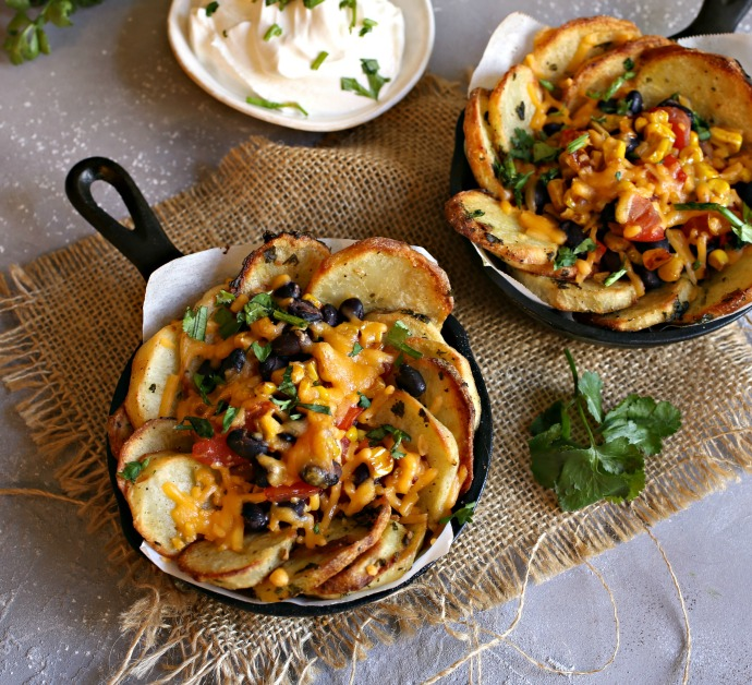 Recipe for crispy potato slices topped with beans, corn, tomatoes and cheese.