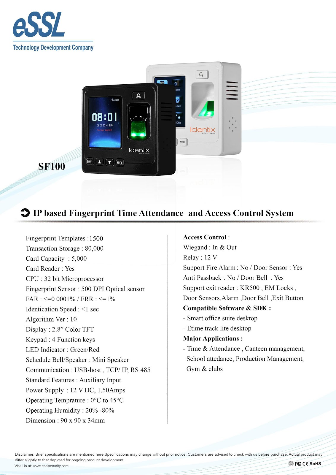 eSSL Security & Biometric Products : SF100