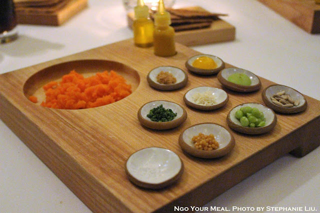 Carrot Tartare with Rye Toast and Condiments 2012 at Eleven Madison Park in New York City