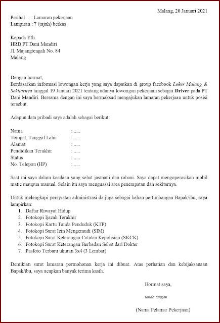 Contoh Application Letter Untuk Driver Pribadi (Fresh Graduate) Berdasarkan Informasi Dari Media Sosial