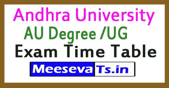 Andhra University AU Degree /UG Exam Time Table 2017
