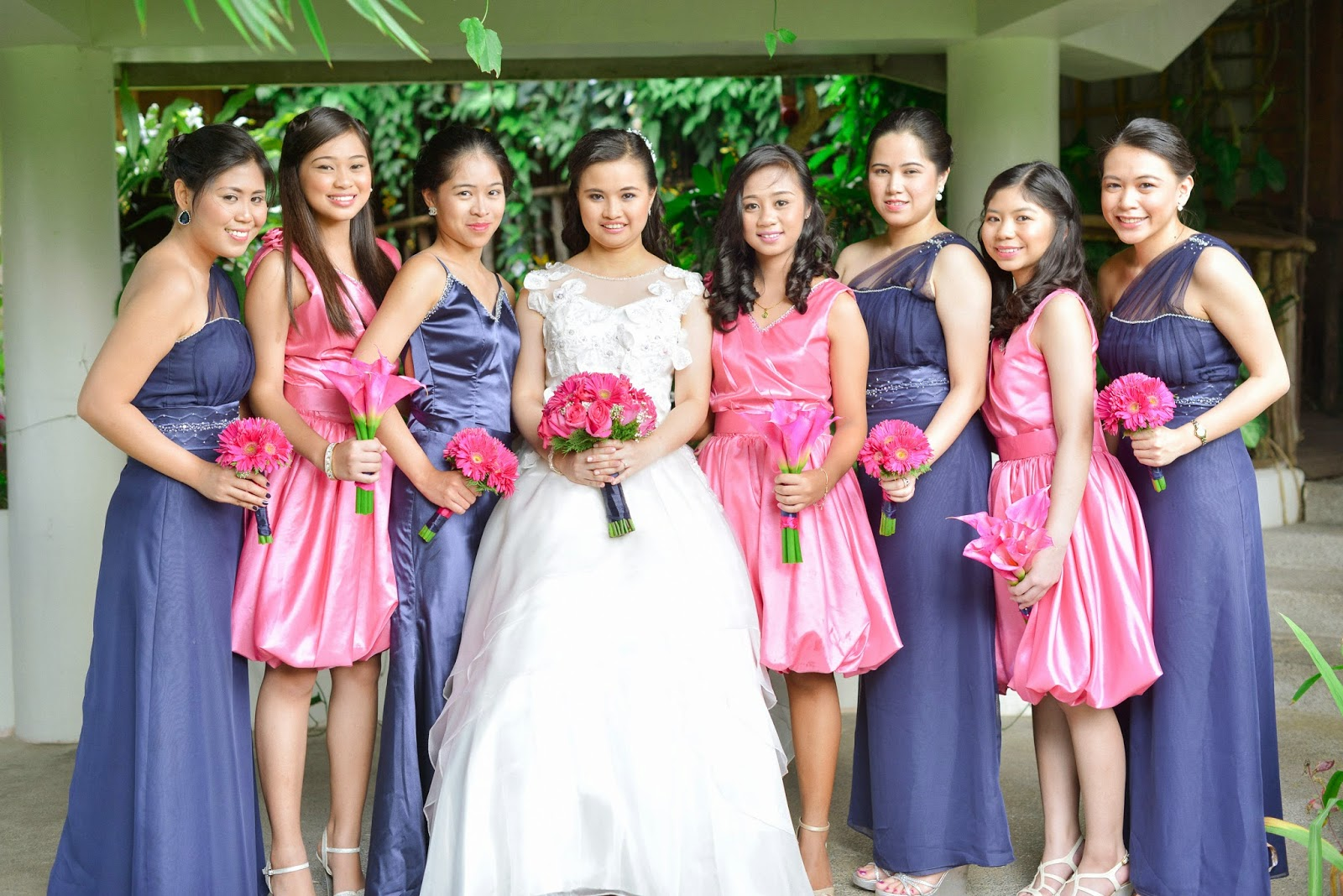 navy blue pink wedding