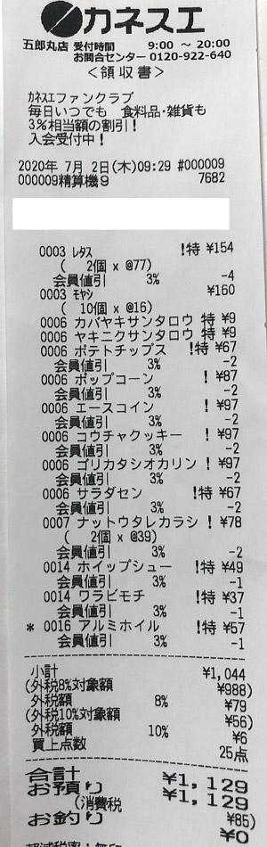 カネスエ 五郎丸店 2020/7/2 のレシート