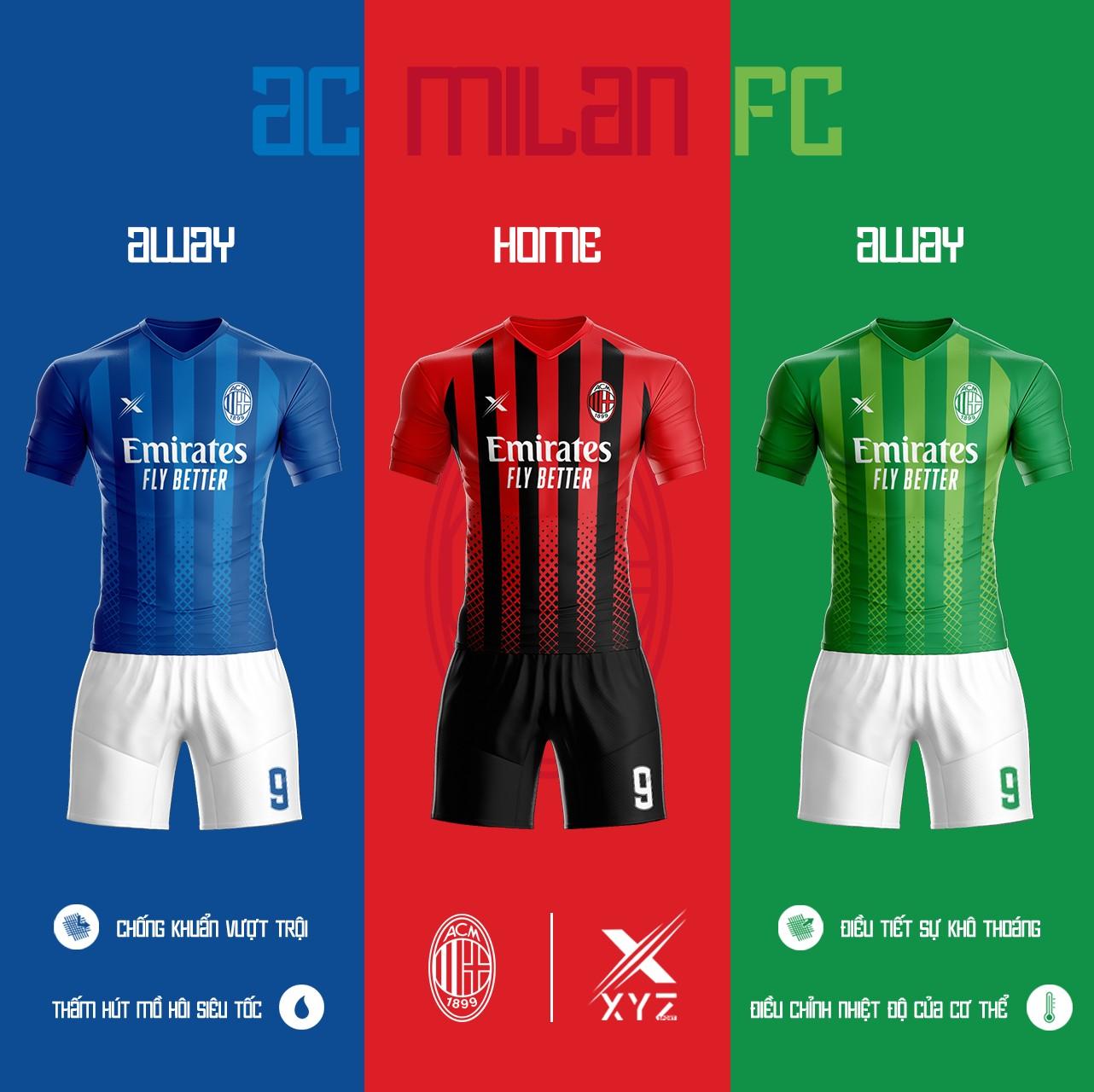 Áo Đấu Bóng Đá AC Milan Tự Thiết Kế Đẹp Và Độc - Mã AC01
