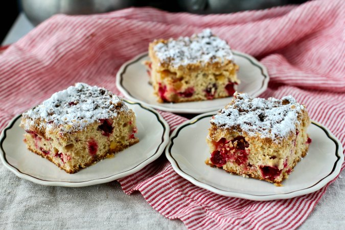Cranberry Buckle with a powdered sugar topping
